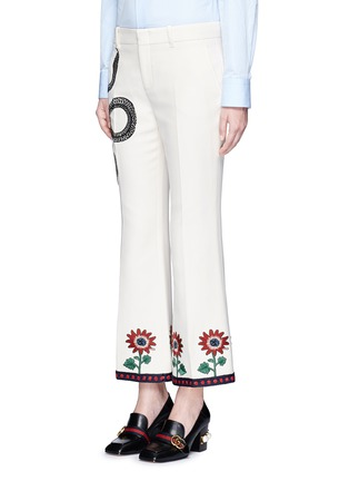 Front View - Click To Enlarge - Gucci - Crochet trim embroidered flared cady pants