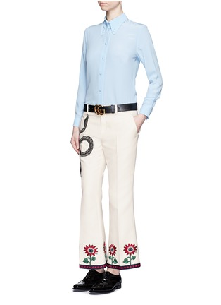 Figure View - Click To Enlarge - Gucci - Crochet trim embroidered flared cady pants