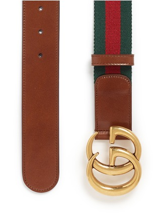 Detail View - Click To Enlarge - GUCCI - GG logo buckle leather canvas web belt