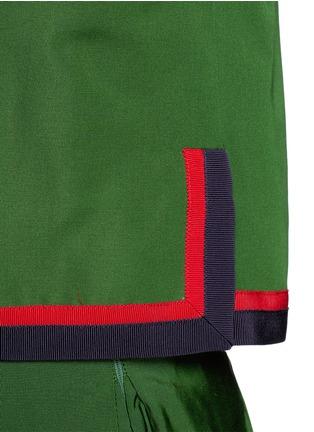 Detail View - Click To Enlarge - Gucci - Web ribbon trim cotton-silk faille jacket