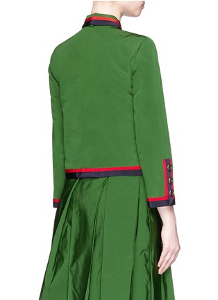 Back View - Click To Enlarge - Gucci - Web ribbon trim cotton-silk faille jacket