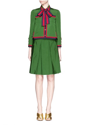 Figure View - Click To Enlarge - Gucci - Web ribbon trim cotton-silk faille jacket
