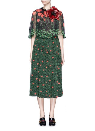Main View - Click To Enlarge - Gucci - Sequin flower brooch tulip leaf print silk cape dress