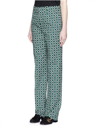 Front View - Click To Enlarge - Gucci - Retro wave print cotton suiting pants