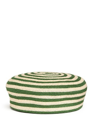 Main View - Click To Enlarge - Gucci - Stripe hemp-cotton straw beret hat