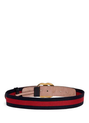 Back View - Click To Enlarge - Gucci - GG logo buckle leather canvas web belt