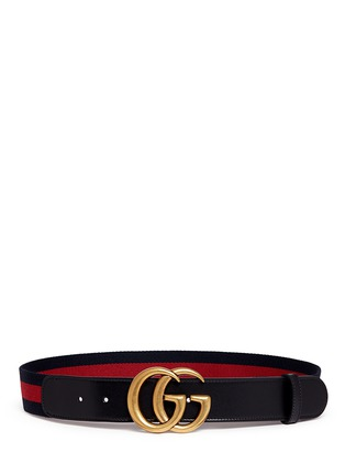Main View - Click To Enlarge - Gucci - GG logo buckle leather canvas web belt