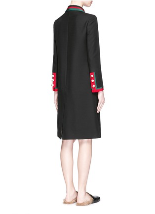 Back View - Click To Enlarge - GUCCI - Web ribbon trim silk-wool coat