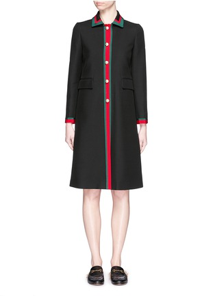 Main View - Click To Enlarge - GUCCI - Web ribbon trim silk-wool coat