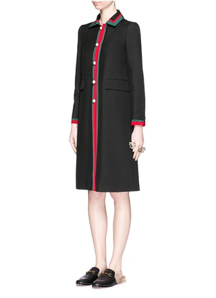Figure View - Click To Enlarge - GUCCI - Web ribbon trim silk-wool coat