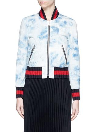 Main View - Click To Enlarge - Gucci - Stripe rib tie dye denim bomber jacket