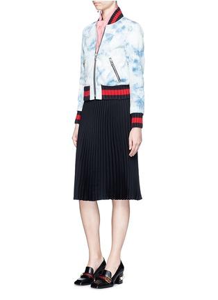 Figure View - Click To Enlarge - Gucci - Stripe rib tie dye denim bomber jacket
