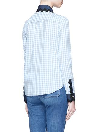 Back View - Click To Enlarge - Gucci - Wavy ribbon denim trim gingham check shirt