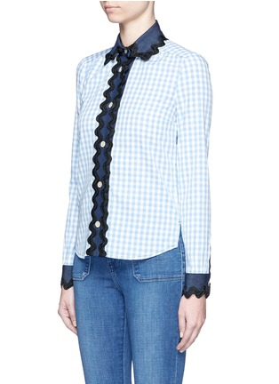 Front View - Click To Enlarge - Gucci - Wavy ribbon denim trim gingham check shirt