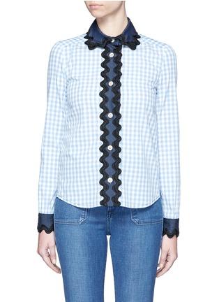 Main View - Click To Enlarge - Gucci - Wavy ribbon denim trim gingham check shirt
