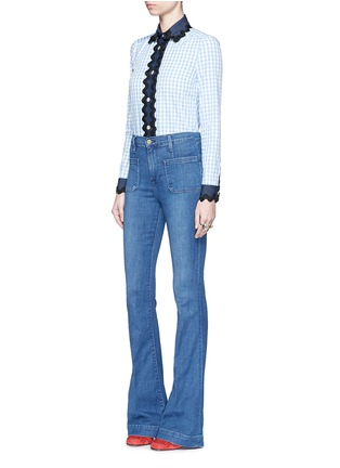 Figure View - Click To Enlarge - Gucci - Wavy ribbon denim trim gingham check shirt