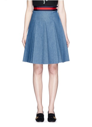 Main View - Click To Enlarge - Gucci - Stripe web waistband inverted pleat denim skirt