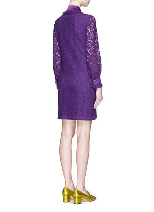 Back View - Click To Enlarge - Gucci - Ruffle trim Cluny lace shirt dress