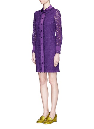 Front View - Click To Enlarge - Gucci - Ruffle trim Cluny lace shirt dress