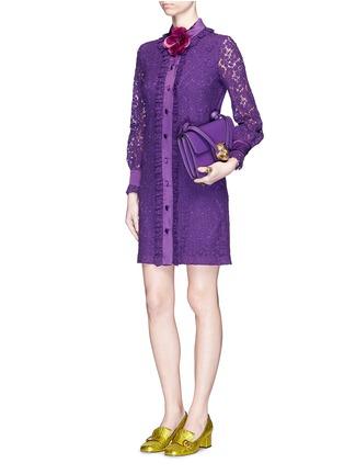 Figure View - Click To Enlarge - Gucci - Ruffle trim Cluny lace shirt dress