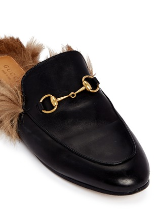 Detail View - Click To Enlarge - Gucci - Fur lined leather loafer slides