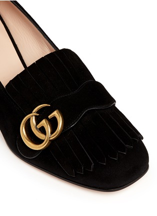 Detail View - Click To Enlarge - Gucci - 'Marmont' kiltie fringe suede loafer pumps