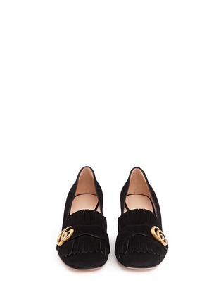 Front View - Click To Enlarge - Gucci - 'Marmont' kiltie fringe suede loafer pumps