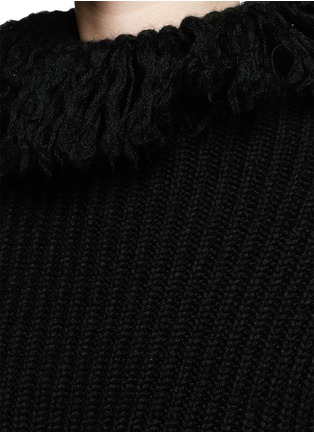 Detail View - Click To Enlarge - Valentino - Frayed turtleneck rib wool sweater