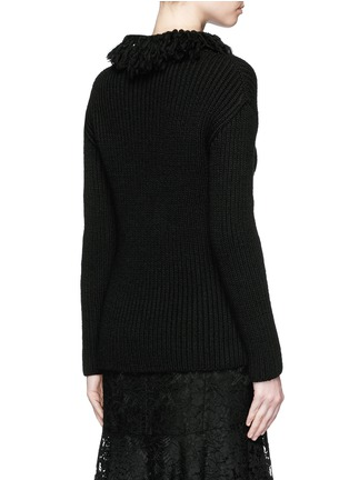 Back View - Click To Enlarge - Valentino - Frayed turtleneck rib wool sweater