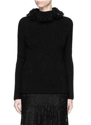 Main View - Click To Enlarge - Valentino - Frayed turtleneck rib wool sweater