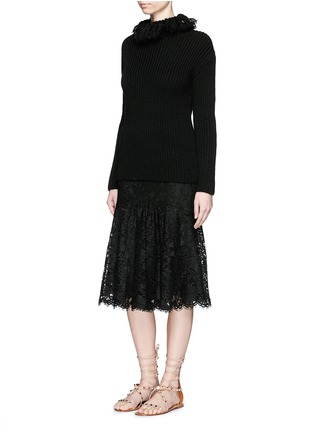 Figure View - Click To Enlarge - VALENTINO - Frayed turtleneck rib wool sweater