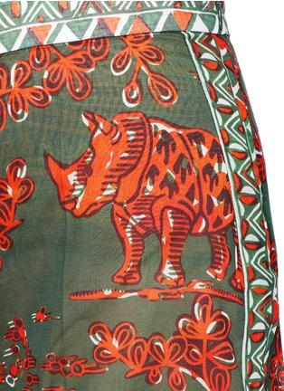 Detail View - Click To Enlarge - Valentino - Tribal rhinoceros print wide leg pants