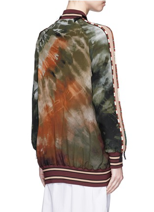 Back View - Click To Enlarge - Valentino - Beaded tie dye print silk long bomber jacket