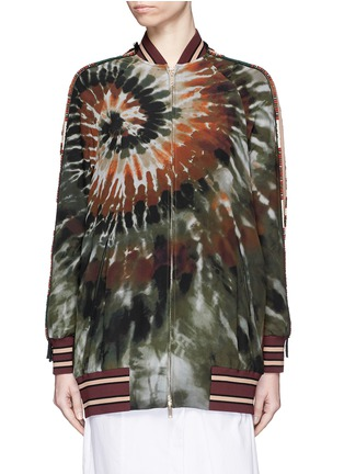 Main View - Click To Enlarge - Valentino - Beaded tie dye print silk long bomber jacket