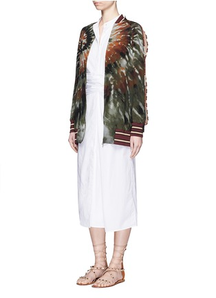 Figure View - Click To Enlarge - Valentino - Beaded tie dye print silk long bomber jacket