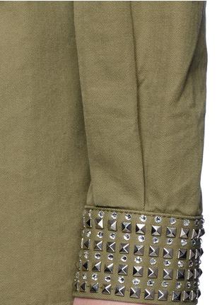 Detail View - Click To Enlarge - SAINT LAURENT - Strass stud cotton herringbone shirt