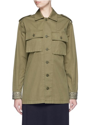 Main View - Click To Enlarge - SAINT LAURENT - Strass stud cotton herringbone shirt