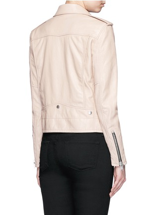 Back View - Click To Enlarge - SAINT LAURENT - Asymmetric zip front leather motorcycle jacket