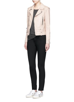 Figure View - Click To Enlarge - SAINT LAURENT - Asymmetric zip front leather motorcycle jacket