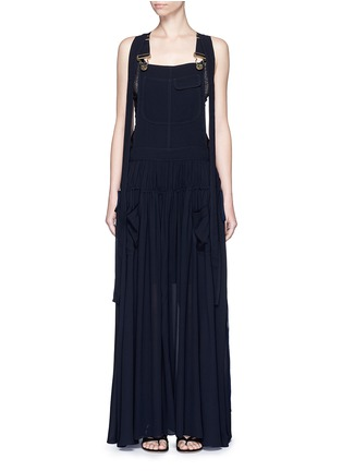 Main View - Click To Enlarge - Chloé - Open back crepe dungaree tier maxi dress