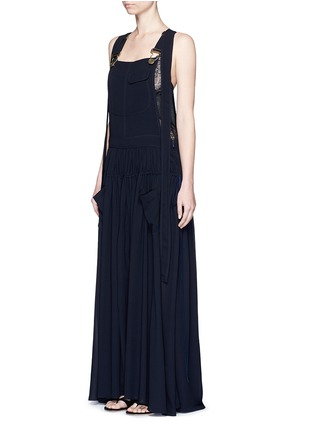 Figure View - Click To Enlarge - Chloé - Open back crepe dungaree tier maxi dress