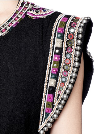 Detail View - Click To Enlarge - Isabel Marant - 'Blaine' bead embroidered rope tie top