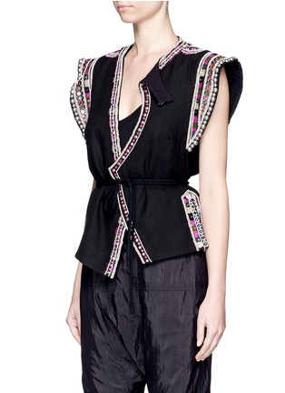 Front View - Click To Enlarge - Isabel Marant - 'Blaine' bead embroidered rope tie top