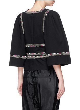 Back View - Click To Enlarge - Isabel Marant - 'Siloe' embroidered cotton twill bell sleeve top
