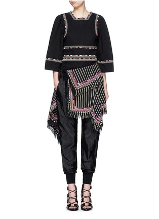 Figure View - Click To Enlarge - Isabel Marant - 'Siloe' embroidered cotton twill bell sleeve top