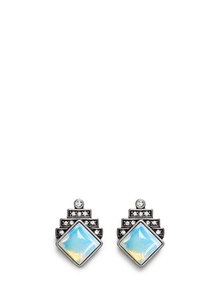Main View - Click To Enlarge - Lulu Frost - 'Reflection' pavé opal stud earrings