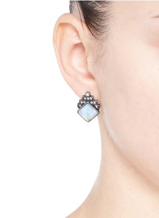 Figure View - Click To Enlarge - Lulu Frost - 'Reflection' pavé opal stud earrings