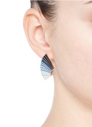 Figure View - Click To Enlarge - Lulu Frost - 'Horizon' ombré enamel fan stud earrings