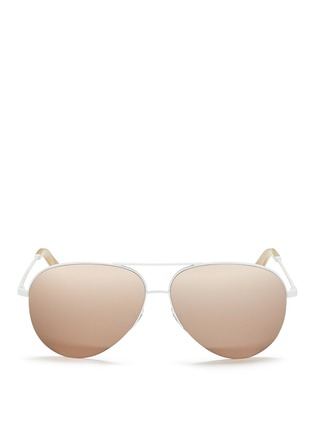 Main View - Click To Enlarge - Victoria Beckham - 'Classic Victoria' 18k gold plated mirror aviator sunglasses