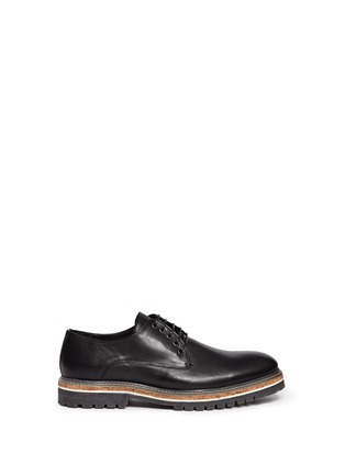 Main View - Click To Enlarge - Armani Collezioni - Five eyelet leather Derbies